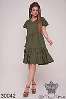 Платье цвета хаки по колено свободного кроя (размеры 42-44, 44-46)