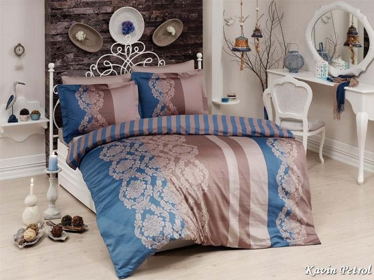 Комплект постельного белья First Choice Сатин Люкс Kavin Petrol