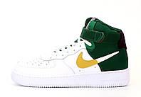 """Кроссовки мужские кожаные высокие Nike Air Force  """"Белые с зеленым"""" найк аир форс р. 41;42;44."""