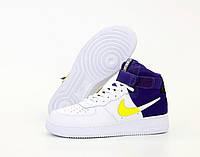 """Кроссовки мужские кожаные высокие Nike Air Force  """"Белые с фиолетовым"""" найк аир форс р. 41-45"""