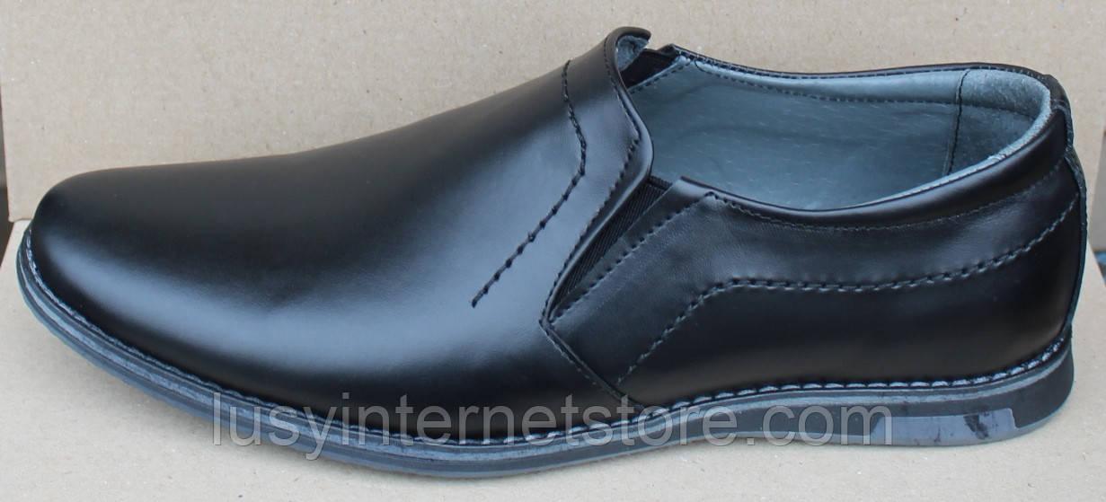 Туфли классические черные кожаные мужские на резинке от производителя модель ОЛТЧ14