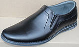 Туфли классические черные кожаные мужские на резинке от производителя модель ОЛТЧ14, фото 2