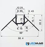 Светодиодный профиль для гипсокартона внешний угол 50х22 мм, фото 2