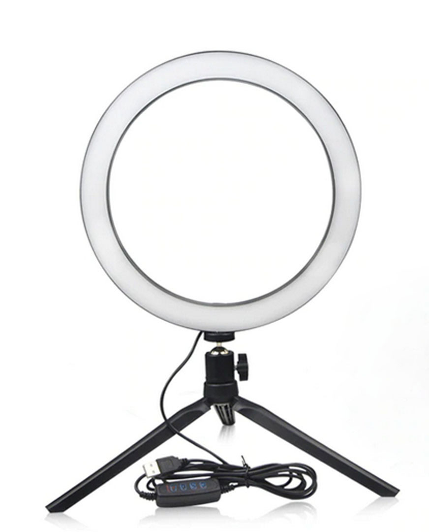 Кольцевая LED лампа 26 см. с держателем для смартфона и настольной треногой