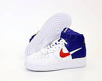 """Кроссовки мужские кожаные высокие Nike Air Force  """"Белые с синим"""" найк аир форс р. 41-45"""