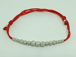 Браслет з текстилю з срібними вставками. Артикул 905 01236