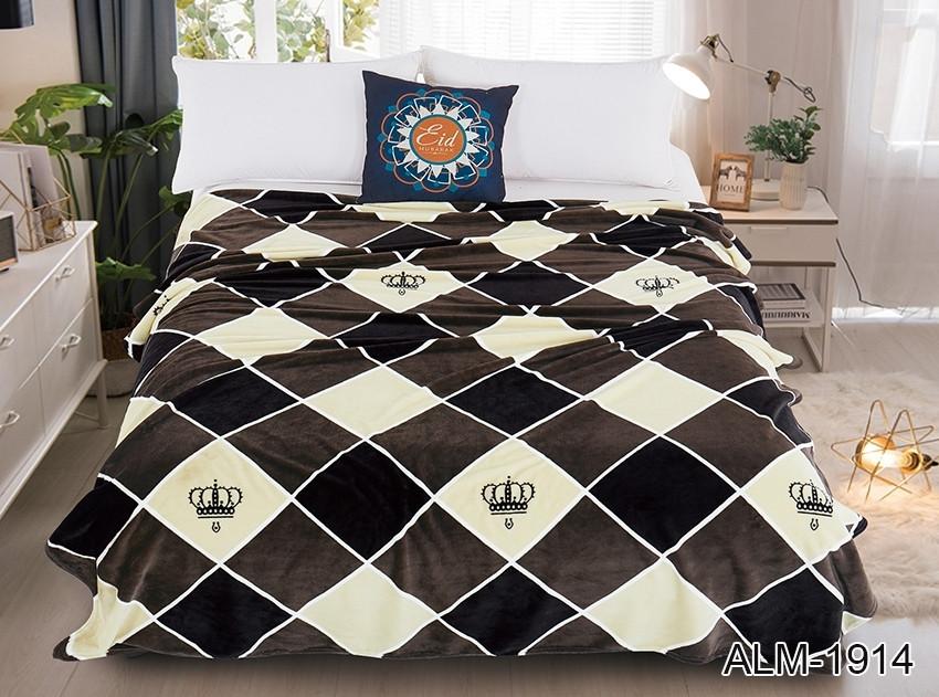Плед покрывало 200х220 велсофт Шахматная доска на кровать, диван