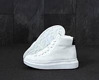 """Кроссовки женские кожаные Alexander Mcqueen White """"Белые"""" высокие александр маккуин р. 38,39,40"""