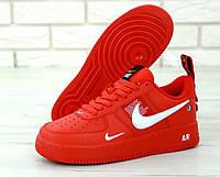 """Кроссовки женские/мужские кожаные Nike Air Force Low """"Красные"""" найк аир форс р.41-43;45"""