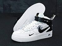 """Кроссовки мужские кожаные высокие Nike Air Force High """"Белые с черным"""" найк аир форс р. 41"""