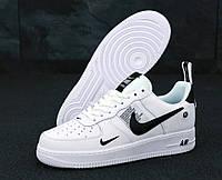 """Кроссовки мужские кожаные низкие Nike Air Force low """"Белые с черным"""" найк аир форс р. 45"""