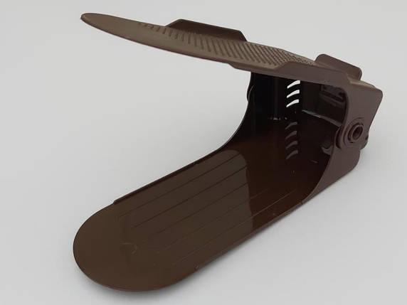 Двойная подставка-органайзер для обуви коричневого цвета. Регулируется по высоте в 3 положениях., фото 2