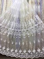 Гардина біла атинова з вишивкою /Тюль белая сетка с вышивкой