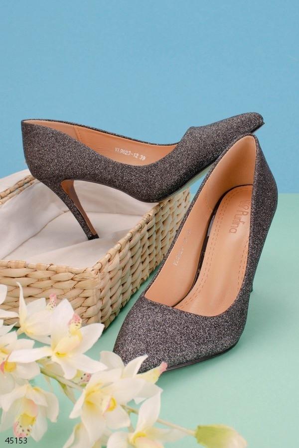 Женские туфли лодочки никель/ бронзовые  эко-кожа