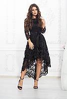 Платье вечернее кружево чёрное, фото 1