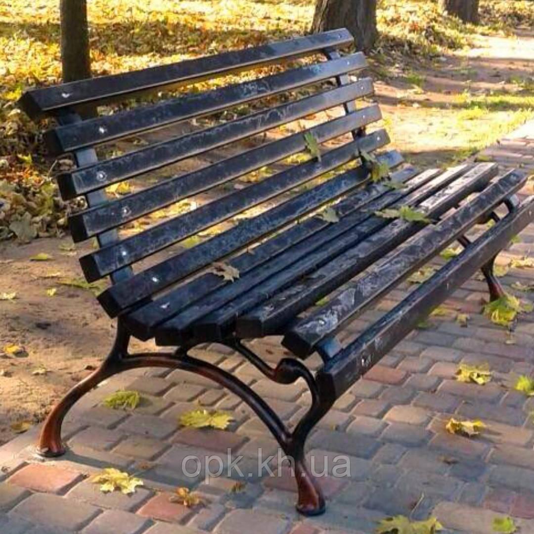 Скамейка чугунная крашенная доска под размер.