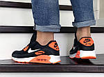 Чоловічі кросівки Nike Air Max 90 (чорно-білі з помаранчевим) 9054, фото 4