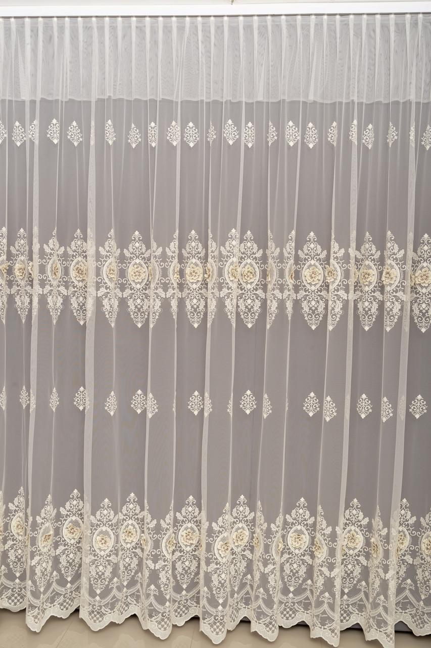 Турецкая дорогая тюль на окна с вышивкой, (обработка сторон + 40 грн)