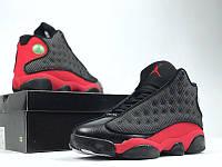 """Кроссовки мужские высокие Nike Air Jordan """"Черные с красным"""" р. 41"""