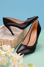 Жіночі туфлі чорні човники на підборах 9 см еко шкіра