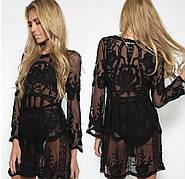 Туника черная пляжная платье фатин с кружевом