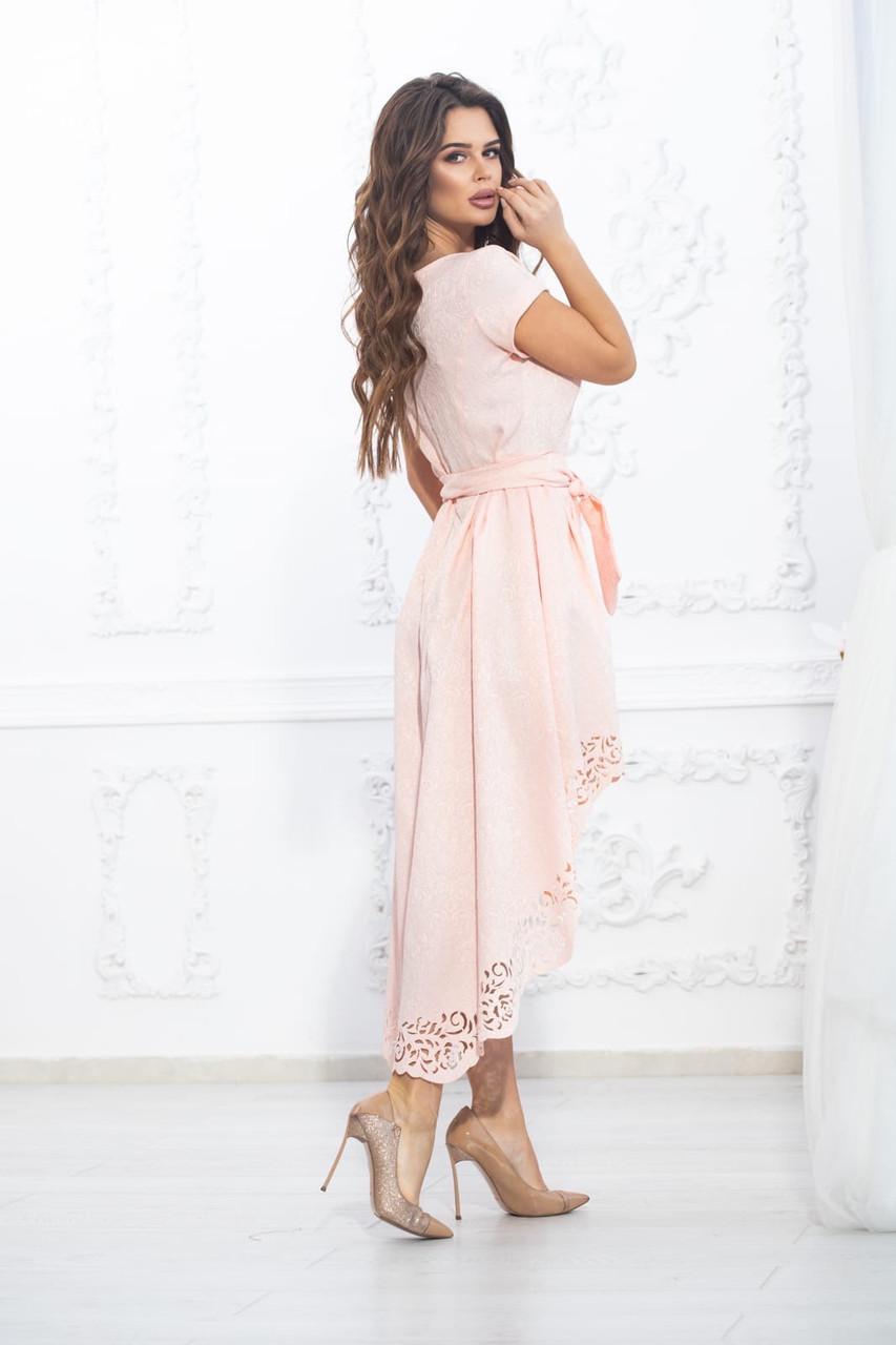 Платье асимметрия шлейф пудра с поясом