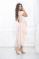 Платье асимметрия шлейф пудра с поясом, фото 1