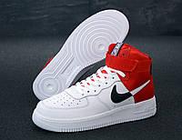 """Кроссовки мужские кожаные Nike Air Force """"Балые с красным"""" высокие найк аир форс р.41-43"""