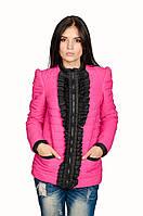 Женская куртка  весна-осень Рюша (розовый)