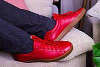 Стильные кожаные кроссовки 40-45 р красный, фото 1