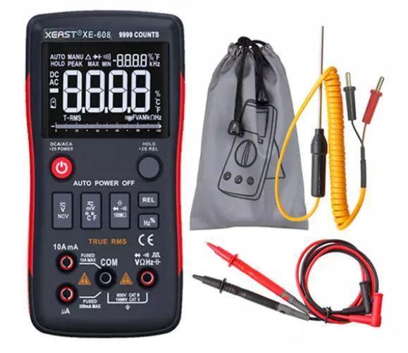 Мультиметр цифровой XE-608, автовыбор, True RMS, 9999 отсчетов