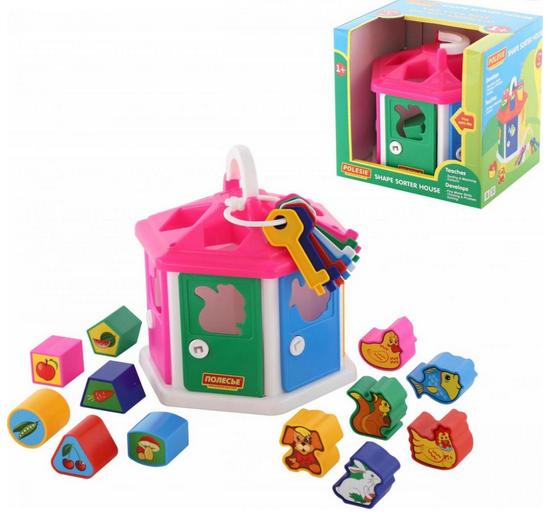 Будиночок-Сортер.Розвиваюча іграшка для малюків будиночок-сортер з ключами.Полісся.