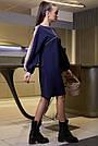 Жіноче синє плаття з лампасами, фото 4