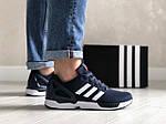 Мужские кроссовки Adidas Zx Flux (темно-синие с белым и красным) 9062, фото 2