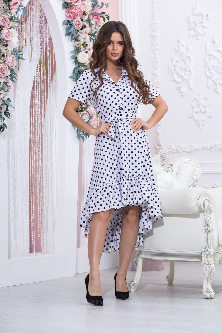 Платье оригинальное молодёжное горох белое