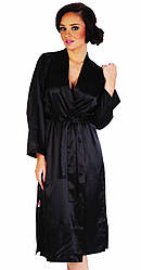Халат женский атласный длинный с поясом черный Delafense 798