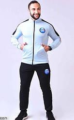 Мужской спортивный костюм на молнии голубой 63571