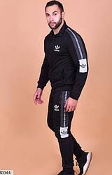 Мужской спортивный костюм на молнии черный 63344