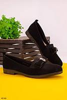 Женские балетки- лоферы черные эко-замш, фото 1