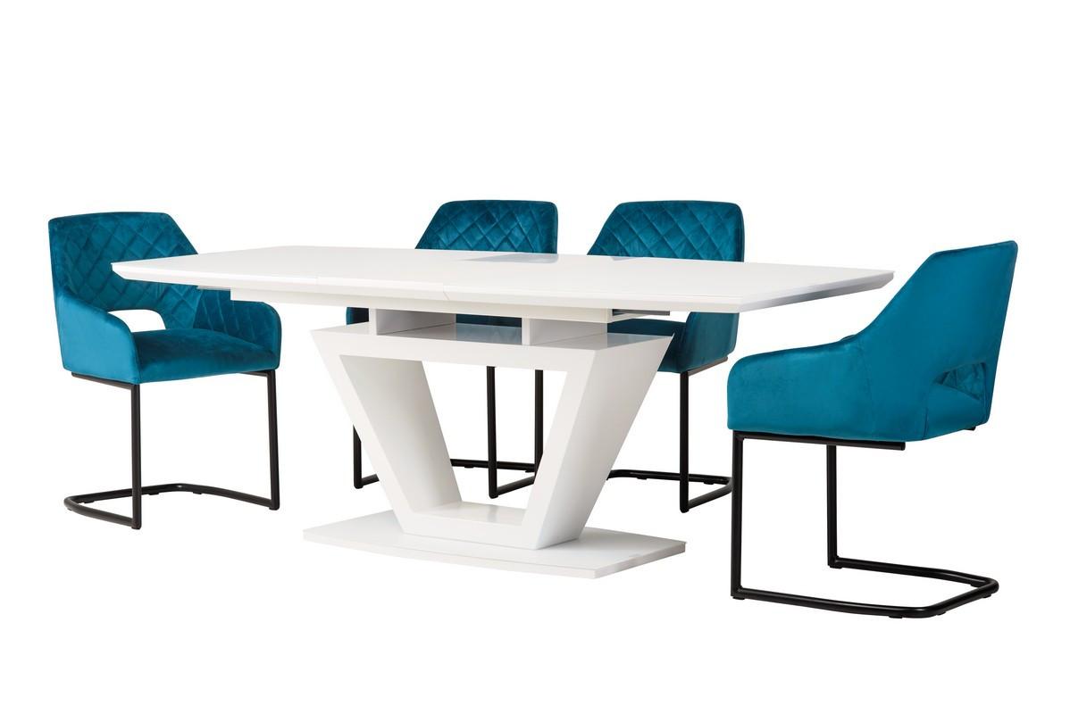 Розсувний стіл ТММ-53-2 матовий білий від Vetro Mebel 160/200