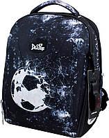 Ортопедический рюкзак (ранец) с мешком и пеналом черный для мальчика Delune с Футболом для начальной школы 37х28х17 см (7-153)