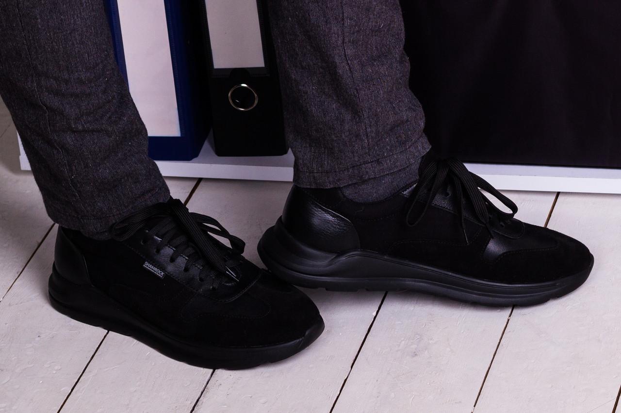 Стильні кросівки з натурального замша і шкіри 40-45 р чорний