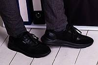 Стильні кросівки з натурального замша і шкіри 40-45 р чорний, фото 1