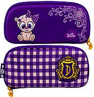 Школьный пенал Delune для девочки Мишка 10,5х22х3,5 см Фиолетовый (D-817)
