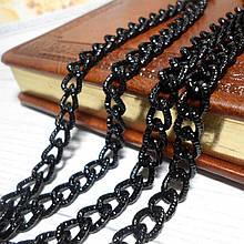 Ланцюжок сумочная, ланка 7,2 мм, фактурне, колір чорний, 35 см