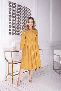 """Приталенное шелковое платье-рубашка """"Marcella"""" с длинным рукавом (большие размеры)"""