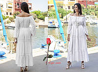 Длинное женское летнее белое платье из хлопка в стиле бохо FKo-2513