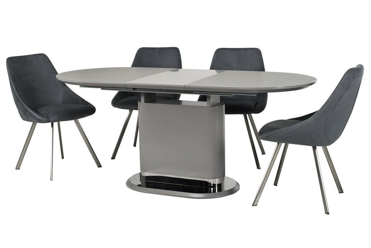 Раздвижной стол ТММ-56 матовый серый 140/180 от Vetro Mebel (бесплатная доставка)