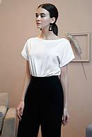 Базовая летняя блуза с коротким рукавом 1326 (44–50р) в расцветках, фото 2