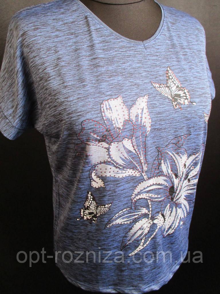 Меланжева футболка з малюнком жіноча